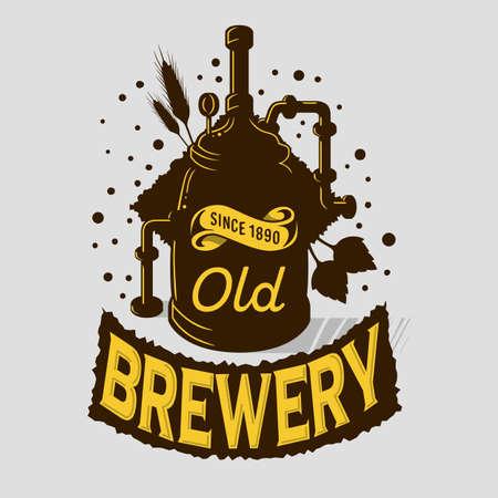 Beer Logo Emblem Print Design Brewery Equipment Boiling Installation. Artistic Cartoon Tatoo Style.