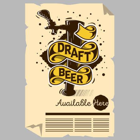 Draft Beer Tap Machine Illustration Poster. Flyer Design For Promotion For Restaurants Pubs Clubs.