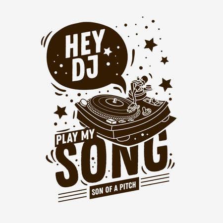 DJ themenorientiertes typografisches T-Stück Druck-Design mit einer Plattenspieler-Illustration auf einem weißen Hintergrund.