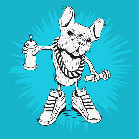 French Bulldog Rap Star With Hip Hop Essentials Like A Graffiti Paint Spray Can Balloon, Precious Metal Chain, Microphone, And Sneakers. Sketchy Doodle Line Art