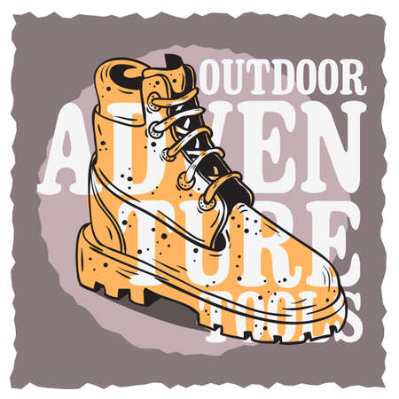 Winter Male Boots Themed Vintage Influenced Typographic Label Poster Design. Stock Photo