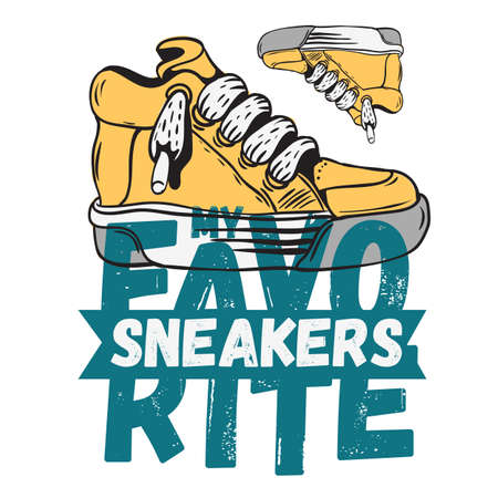 Sneaker Footwear Poster Label Sign Design Artistic Cartoon Hand drawn Sketchy Line Art Style On A White Background. Stock Photo