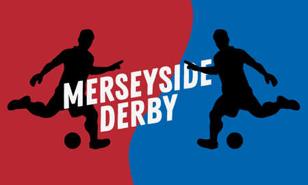 Merseyside Derby Of Liverpool And Manchester, United Kingdom, England. Football Or Soccer Design With A Player Silhouettes. Illustration