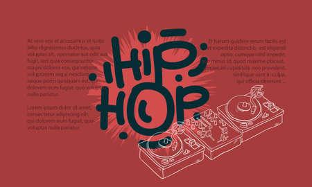 Conception de Hip Hop avec un mélangeur de son Dj et dessin de platines non isolé et une zone pour l'information supplémentaire de texte dans le dessin au trait dessiné à la main dessiné artistique dessiné à la main. Banque d'images - 91324363