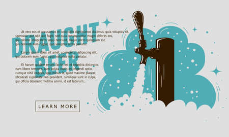 Draught Beer Tap With Foam Web Banner Design For Promotion. Vector Graphic.