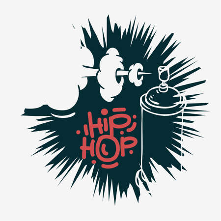 Hip Hop  Design  With A Graffiti Spray Can Baloon. Artistic Cartoon Hand Drawn Sketchy Line Art Style. Vector Graphic.