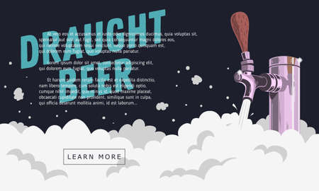 Draught Draft Beer Tap With Foam Web Banner Design For Promotion.