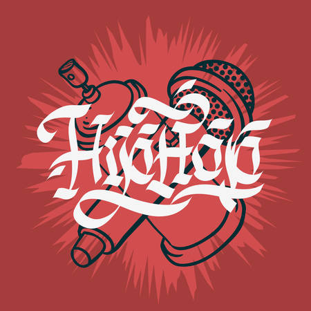 Hip Hop Lettering Custom Gothic Calligraphy Design With A Microphone And Graffiti Spray Can Baloon. Artistic Cartoon Hand Drawn Sketchy Line Art Style.