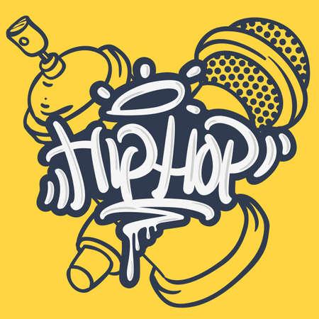 Hip Hop Lettering Custom Tag Style Characters con micrófono y Graffiti Spray Can Baloon. Dibujado a mano de dibujos animados Artísticos Sketchy Line Art Style.
