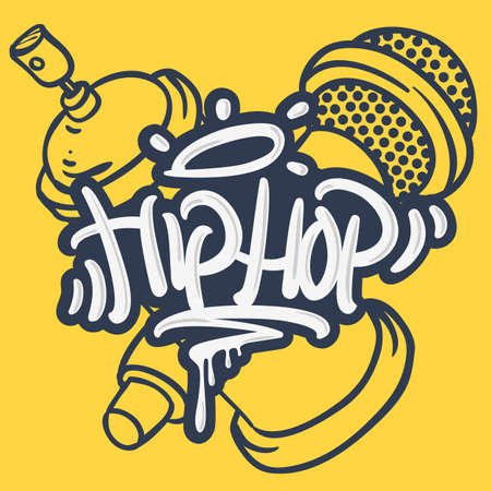 Hip Hop Lettering Custom Tag Style Characters With A Microphone And Graffiti Spray Can Baloon. Artistic Cartoon Hand Drawn Sketchy Line Art Style. Иллюстрация