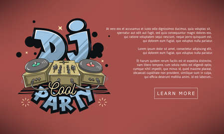 Dj Cool Party Web Banner Design. Sound Mixer And Turntables Funny Cartoon Illustration. Comic Old School Graffiti Type Treatment.
