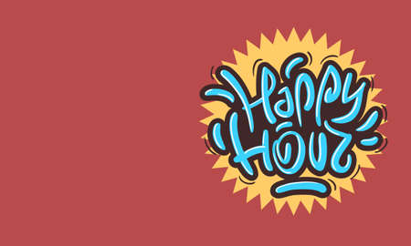 Happy Hour Design Funny Cool Brush Lettering Graffiti Style. Vettoriali
