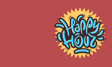 Happy Hour Design Funny Cool Brush Lettering Graffiti Style. Illustration