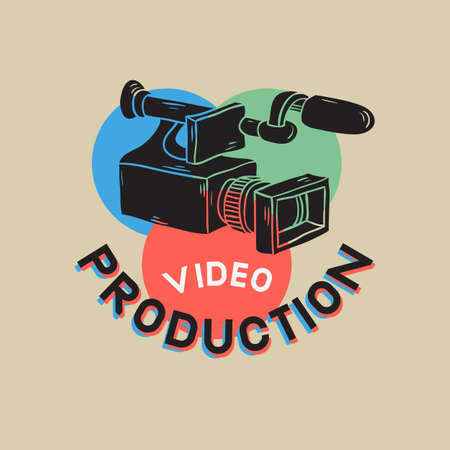 Video Production RGB Layered Design With Isolated Video Camera  Drawings  Vector Graphic.