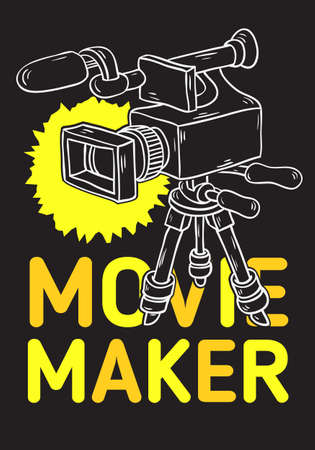 Movie Maker Poster  Design With Isolated Video Camera On A Tripod Artistic Cartoon Hand Drawn Sketchy Line Art Style Drawing Vector Graphic.