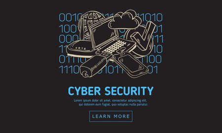 Cyber Security Safety Web Design With Related Icons And Devices On A Binary Code Background. Artistic Cartoon Hand Drawn Sketchy Line Art.