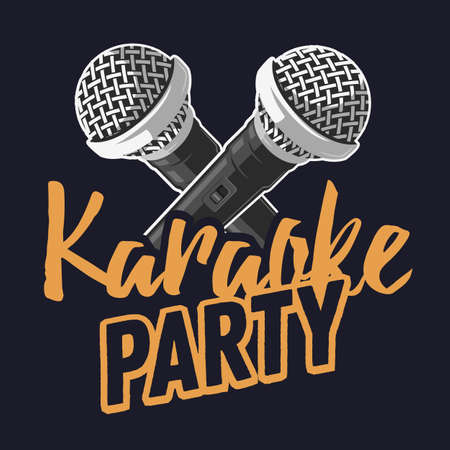 Karaoke party music poster design with microphones.