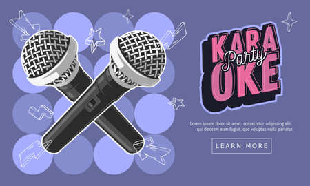 Karaoke Party Music Web Design With Microphones. Vector Graphic