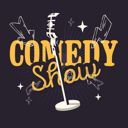 Comedy Show Design With Old Fashioned Microphone. Vettoriali