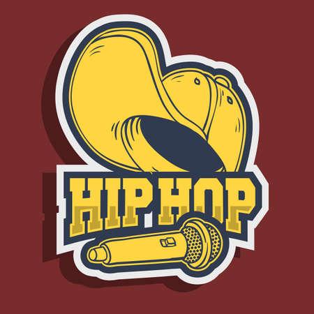 Hiphop-stickerontwerp met honkbalhoed Snapback Flexfit en een microfoonmicrofoon