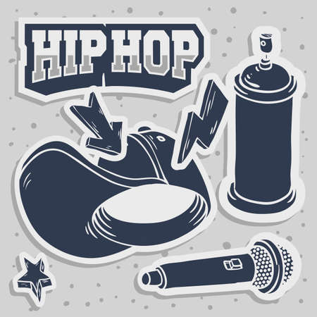 Hip Hop Stickers Design With Baseball Hat Snap back Flexfit Mic Microphone Graffiti Paint Spray Can Balloon Related Symbols Vector Graphic. Vettoriali