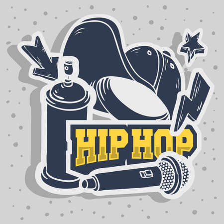 Hip Hop Stickers Design With Baseball Hat Snap back Flexfit Mic Microphone Graffiti Paint Spray Can Balloon Related Symbols Vector Graphic. Illustration