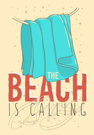 Beach summer design with flip flops slippers beach shoes and hanged towel. Hand drawn line art illustrations. Vector graphic.  イラスト・ベクター素材