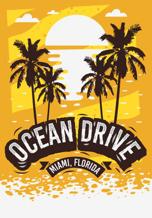 Ocean Drive Miami Beach Florida Summer Poster Design With Palm Trees Illustration And A Sunrise On The Beach.