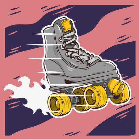 Roller Skating Design With A Classic Model Roller Skate. Vector Graphic.