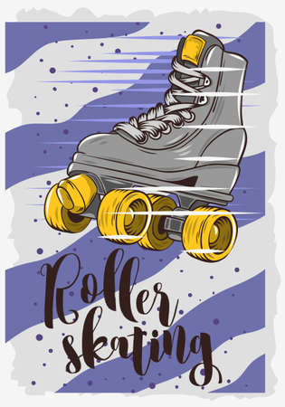Roller Skating Poster Design With A Classic Model Roller Skate. Vector Graphic. Vettoriali