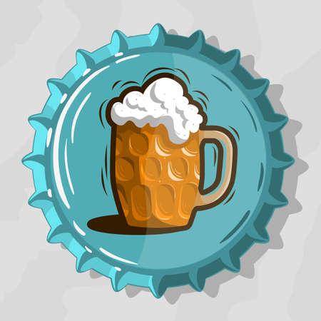 Glass Mug Of Draft Beer With Foam On Top View Beer Bottle Cap vector illustration