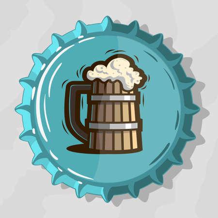 Wooden Mug Of Draft Beer With Foam On Top View Beer Bottle Cap vector illustration Vectores
