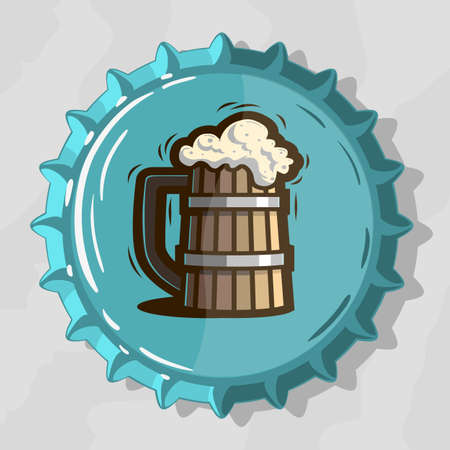 Wooden Mug Of Draft Beer With Foam On Top View Beer Bottle Cap vector illustration Çizim