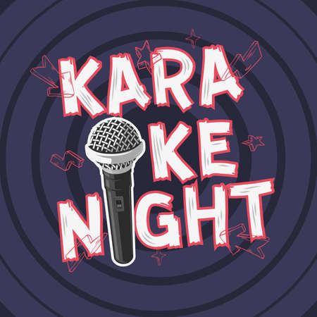 Karaoke Night Party music design with A microphone. Vector graphic illustration.