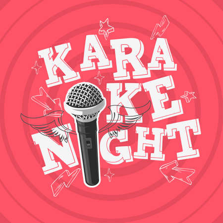 Karaoke Night Party Music Design With A Microphone And Wings. Vector Graphic