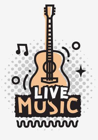 Live Music In The Concert Vector Design With Acoustic Guitar.