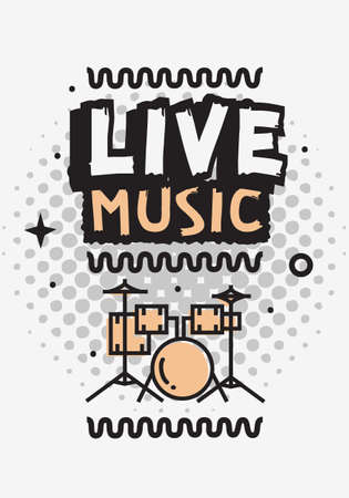 Live Music In The Concert Vector Design With Set Of Drums. Illustration