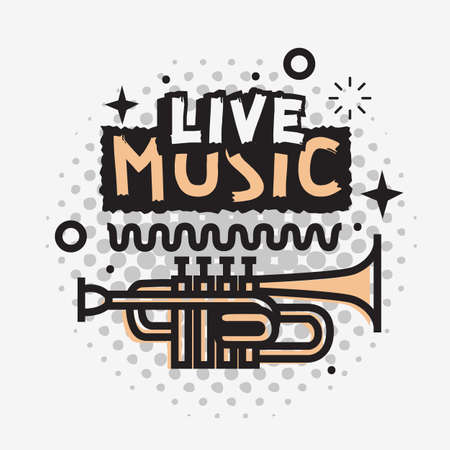 Live Music In The Concert Vector Design With A Trumpet.