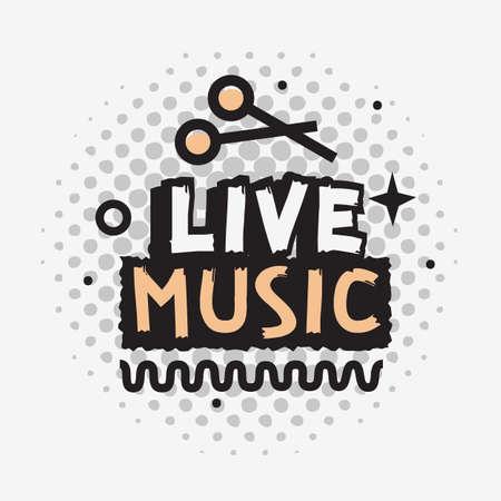 Live Music In The Concert Vector Design With Drumsticks. Illustration