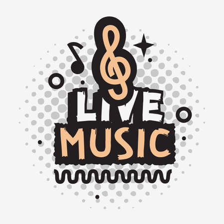 Live Music In The Concert Vector Design With Treble Clef Sign.