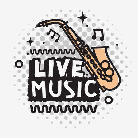 Live Music In The Concert Vector Design With A Saxophone.