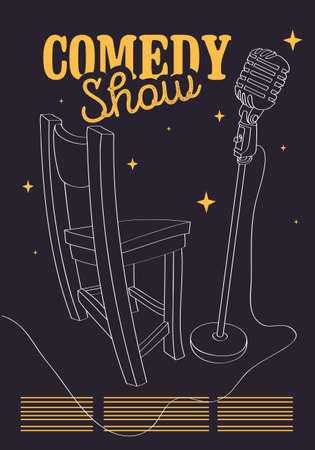 Comedy Show Poster With Bar Chair And Microphone Vector Image.