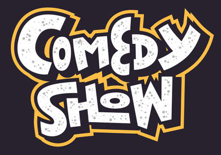 Comedy Show Hand Drawn Lettering Type Design Vector Image Banque d'images - 110458539