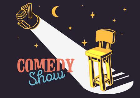 Concepto de espectáculo de comedia con imagen de Vector de silla de bar y foco.