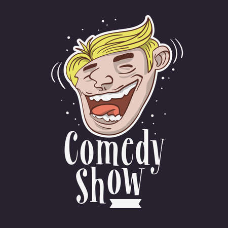 Comedy Show Logo With A Smiling Laughing Face Vector Image.