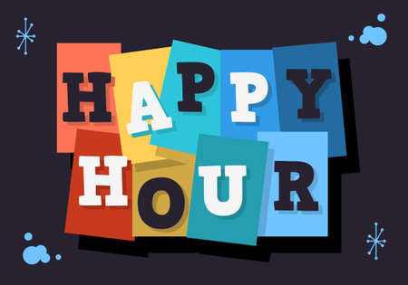 Happy Hour Typographic Type Design Vector Image.