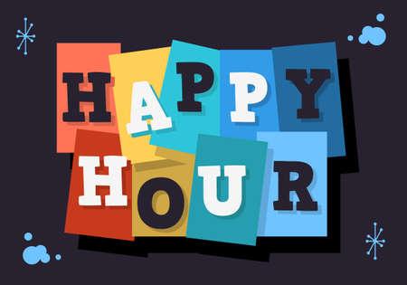 Happy Hour Typographic Type Design Vector Image.