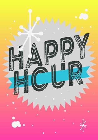 Happy Hour Poster Typographic Type Design Vector Image. Çizim