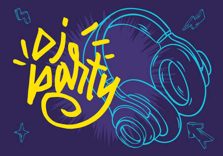 Dj Party Poster Design With A Headphones And Hand Drawn Traced Lettering Vector Image