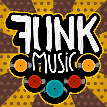 Funk Music Lettering Type Design Vector Image.